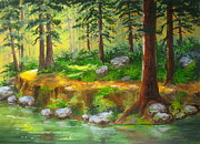 Serenity  Oregon Paintings - River Path by Shasta Eone