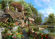 Ducks Digital Art Posters - Riverside Cottage in Bloom Poster by Dominic Davison