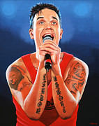 Singer Painting Framed Prints - Robbie Williams Framed Print by Paul  Meijering