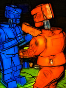Wingsdomain Art and Photography - Rockem Sockem Robots - Color Sketch...