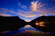 Blue Fireworks Prints - Rocky Mountains Private Fireworks Show Print by James Bo Insogna