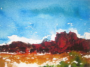 Canyons Painting Prints - Rocky Ridge Print by Anne Duke
