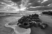 Debra and Dave Vanderlaan - Rocky Surf in Black and White