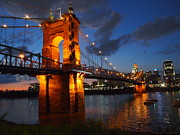 Ohio River Landscapes Posters - Roebling Suspension Bridge at Sunset Poster by Deborah Fay