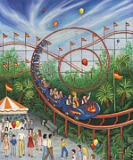 Rides Painting Originals - Roller Coaster by Linda Mears