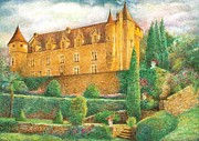 Egg Tempera Painting Prints - Romantic French Chateau Print by Judith Cheng