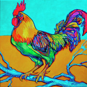 Cockerel Paintings - Rooster Perch by Derrick Higgins