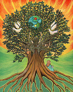 Peace Doves Paintings - Rooted In the Tree of Humaity by Janis  Cornish