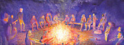 Jam Painting Originals - Roots Retreat Campfire Jam by David Sockrider