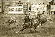 Steer Framed Prints - Roping Framed Print by Caitlyn  Grasso