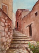 Old House Pastels Prints - Roussillon Walk Print by Anastasiya Malakhova