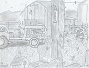 Old Barn Drawing Drawings - Royal Arkansas 1971 by Gerald Griffin