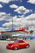 Street Rods Posters - Roys Gas Station - Route 66 Poster by Mike McGlothlen