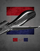 Global Hawk Posters - Rq-4 Global Hawk Flag Spirit Poster by Reggie Saunders