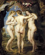 Rubens; Peter Paul (1577-1640) Metal Prints - Rubens, Peter Paul 1577-1640. The Three Metal Print by Everett