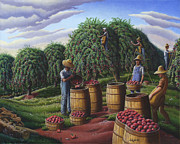Fall Scenes Painting Posters - Rural Farm Folk Art Landscape Fall Apple Harvest Autumn Country Americana Life Poster by Walt Curlee