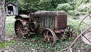 Shed Digital Art Metal Prints - Rusted Mc Cormick-Deering Tractor and Shed Metal Print by Michael Spano