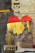 Peeling Paint Mixed Media - Rustic Fantastic Love in the Sixties by Anahi DeCanio