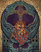 Religious Mixed Media Metal Prints - Sacred Heart Metal Print by Ricardo Chavez-Mendez