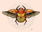 Tattoo Flash Posters - Sacred Scarab Poster by Matt Truiano