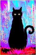 Donatella Muggianu Prints - Sad and ruffled cat explosive color version Print by Donatella Muggianu