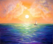 Amazing Sunset Painting Framed Prints - Sailing away before sunset Framed Print by Lilia D