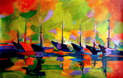 Helena Wierzbicki - Sailing boats by the river