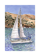 Under The Ocean  Drawings Metal Prints - Sailing Catalina Island Sailing Sunday Metal Print by Jack Pumphrey
