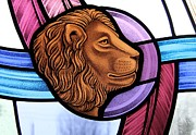 Religious Glass Art Posters - Saint Mark Lion Poster by Gilroy Stained Glass