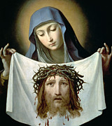 Virgin Mary Framed Prints - Saint Veronica Framed Print by Guido Reni