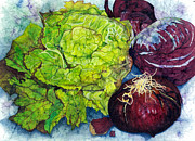 Lettuce Painting Prints - Salad Starters Print by Barbara Jewell