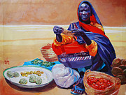 Mohamed Fadul Metal Prints - Saleswoman Metal Print by Mohamed Fadul