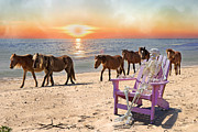 Ponies Digital Art - Sam Watches Over the Harem  by Betsy A Cutler East Coast Barrier Islands