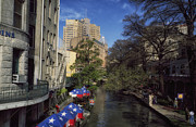 Outdoor Cafes Posters - San Antonios River Walk Poster by Carol M Highsmith