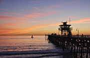 Clemente Framed Prints - San Clemente Sunset Framed Print by Karen English