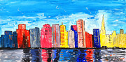 Sanfrancisco Paintings - San Francisco cityscape by Neal Barbosa