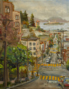 Alcatraz Painting Prints - San Francisco Street Print by Margaret Elliott