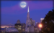 Bay Bridge Mixed Media Metal Prints - San Francisco Transamerica Pyramid Building with Moon and Sun Metal Print by Douglas MooreZart