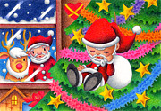 Christmas Present Drawings - Santa Claus doll by T Koni