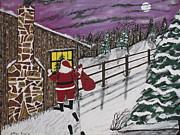 Cabin Window Originals - Santa Claus Is Watching by Jeffrey Koss