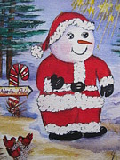 Flashing Painting Prints - Santa goin North Print by Shirley Watts