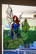 Fantasy Glass Art Metal Prints - Sapphire  Metal Print by Nora Solomon