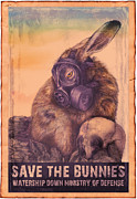 """war Poster"" Digital Art Framed Prints - Save The Bunnies Framed Print by Penny Collins"