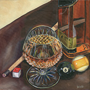 Glass Painting Prints - Scotch and Cigars 1 Print by Debbie DeWitt