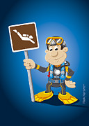 Ramspott Prints - Scuba Diver Cartoon Man Diving Sign Print by Frank Ramspott