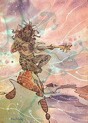 Surf Art Framed Prints - Sea God Guitarist Framed Print by Harry Holiday