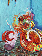 Spaghetti Digital Art Prints - Seafood Spaghetti Sunday Print by Eric Kuns