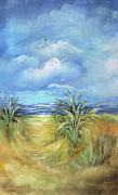 Oats Mixed Media Prints - Seascape Print Print by Nancy Gorr