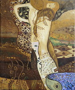 Klimt Painting Originals - Seasnakes And Squiggles by Stefan Duncan