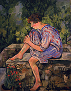 Red Petals Prints - Seated Young Woman Print by Marie Clementine Valadon